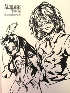 Arianna and Florence character sketch - I love using brush pens and heavy inking.