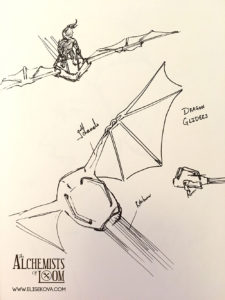 Dragon Glider exploration, concept for the rider inspired by Nausicaa's glider.