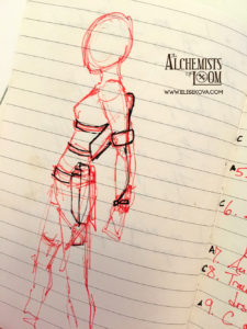Initial concepts of Ari's harness and gear